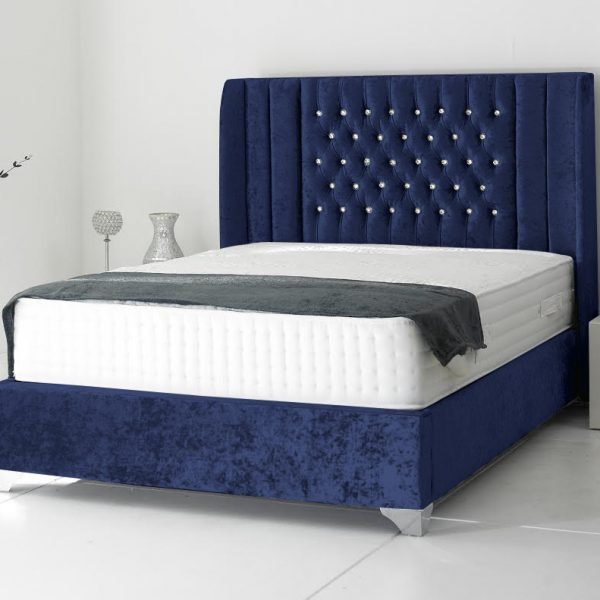 Alexis Bed Small Double Plush Velvet Blue - Small Double