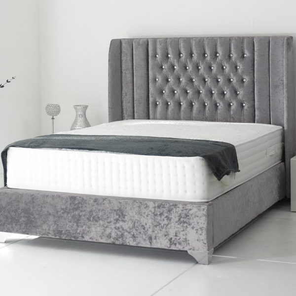 Alexis Bed Double Plush Velvet Steel - Double