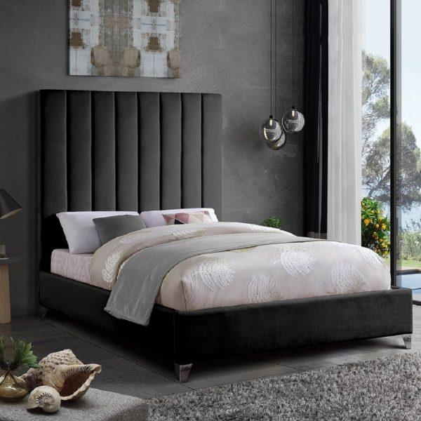 3FT Alexo Bed Single Plush Velvet Black - Single