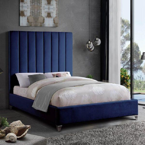 Alexo Bed King Plush Velvet Blue - King Size
