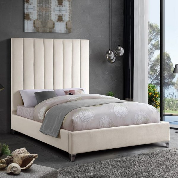 Alexo Bed Small Double Plush Velvet Cream - Small Double