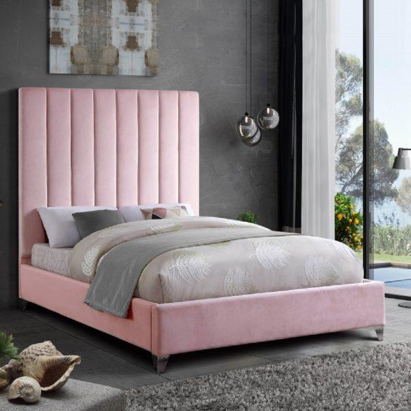 Alexo Bed Double Plush Velvet Pink - Double