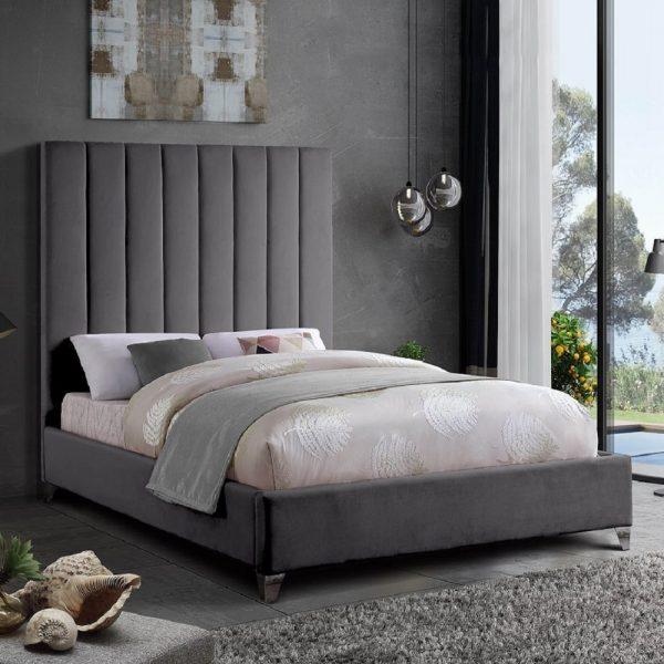 Alexo Bed Small Double Plush Velvet Steel - Small Double
