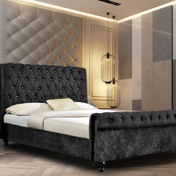 Arisa Bed Double Crush Velvet Black - Double