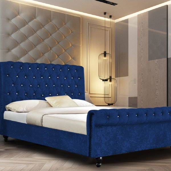 Arisa Bed Small Double Crush Velvet Blue - Small Double