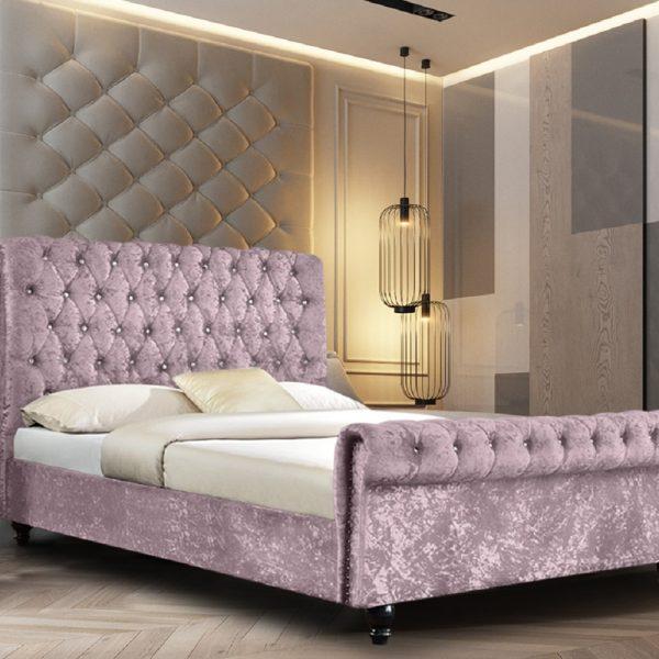 Arisa Bed Double Crush Velvet Pink - Double
