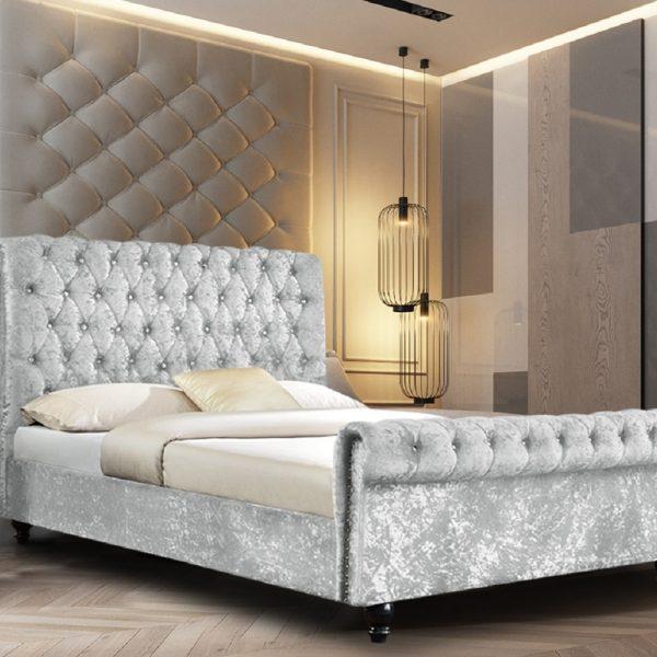 Arisa Bed Double Crush Velvet Silver - Double