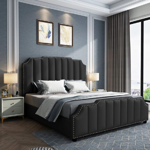 Arnold Bed Small Double Plush Velvet Black - Small Double