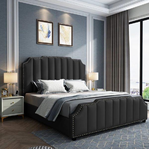 Arnold Bed Single Plush Velvet Black - Single