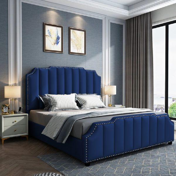 Arnold Bed Double Plush Velvet Blue - Double