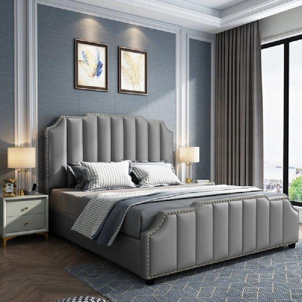 Arnold Bed King Plush Velvet Grey - King Size