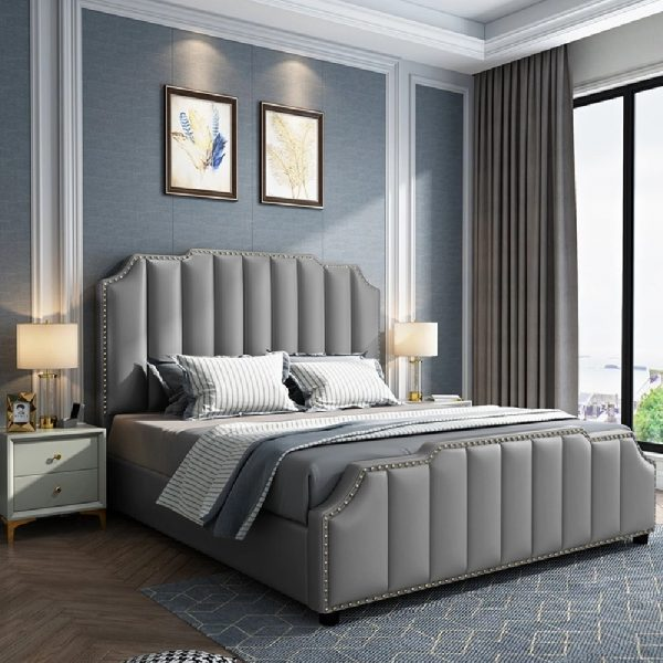 Arnold Bed Single Plush Velvet Grey - Single