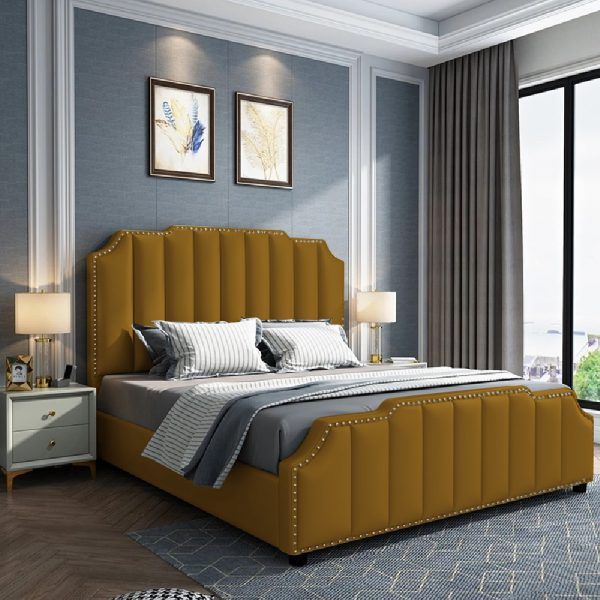Arnold Bed King Plush Velvet Mustard - King Size