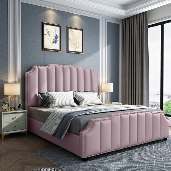 Arnold Bed Double Plush Velvet Pink - Double