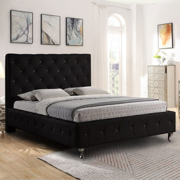 Barella Bed Single Plush Velvet Black - Single