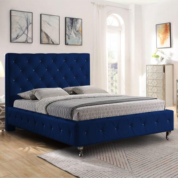 Barella Bed King Plush Velvet Blue - King Size