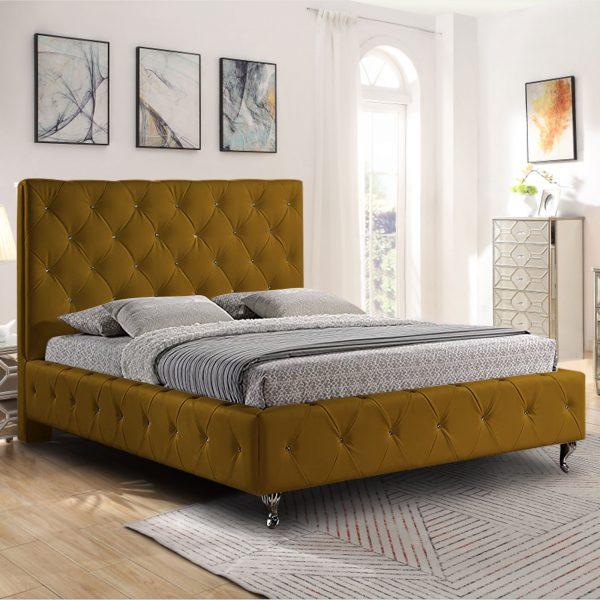 Barella Bed Small Double Plush Velvet Mustard - Small Double