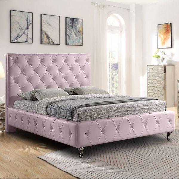 Barella Bed Double Plush Velvet Pink - Double