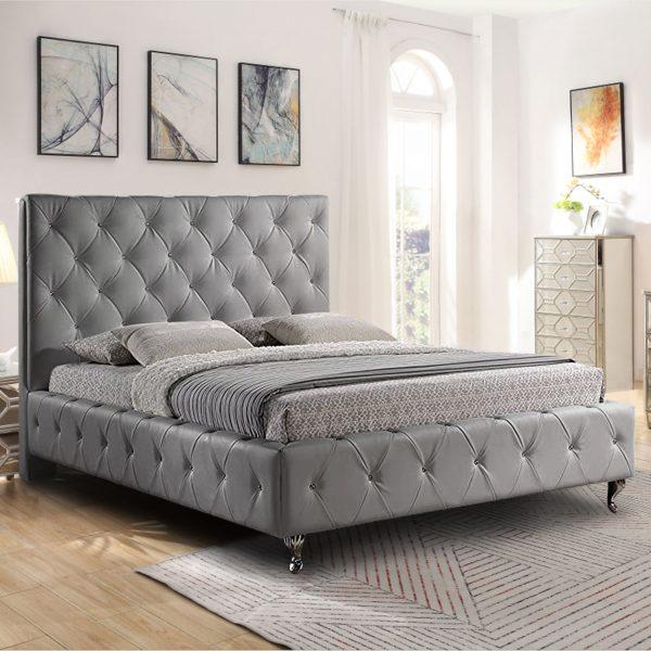 Barella Bed Super King Plush Velvet Grey - Super King