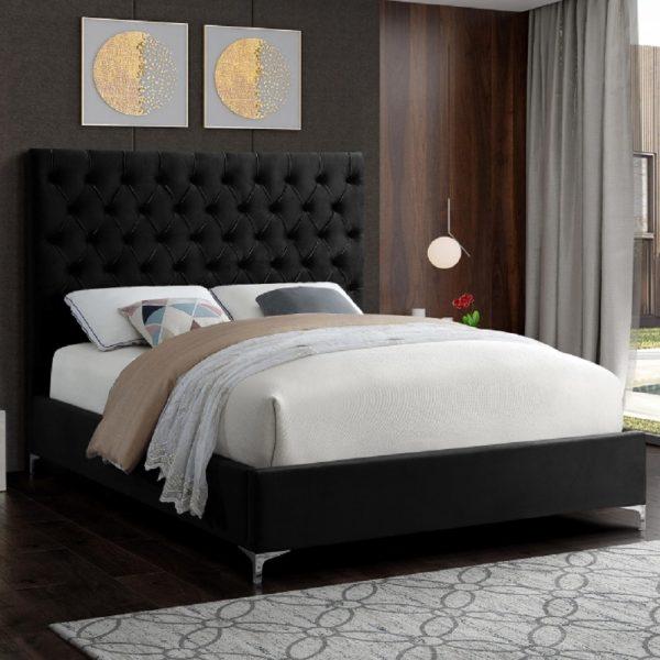 Charlston Bed King Plush Velvet Black - King Size