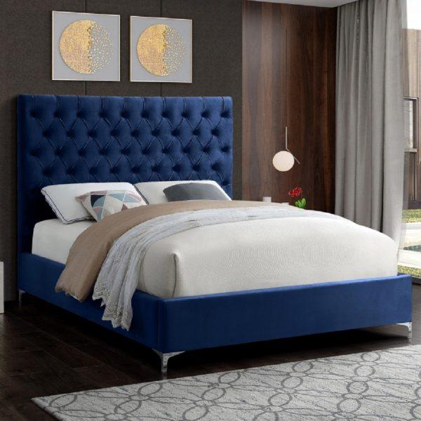 Charlston Bed King Plush Velvet Blue - King Size
