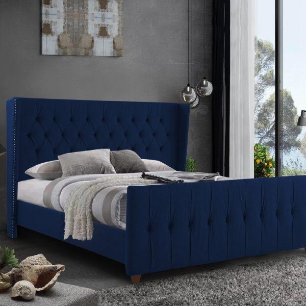 Clarita Bed King Plush Velvet Blue - King Size