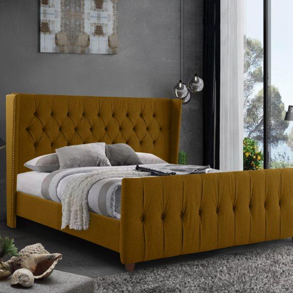 Clarita Bed Single Plush Velvet Mustard - Single