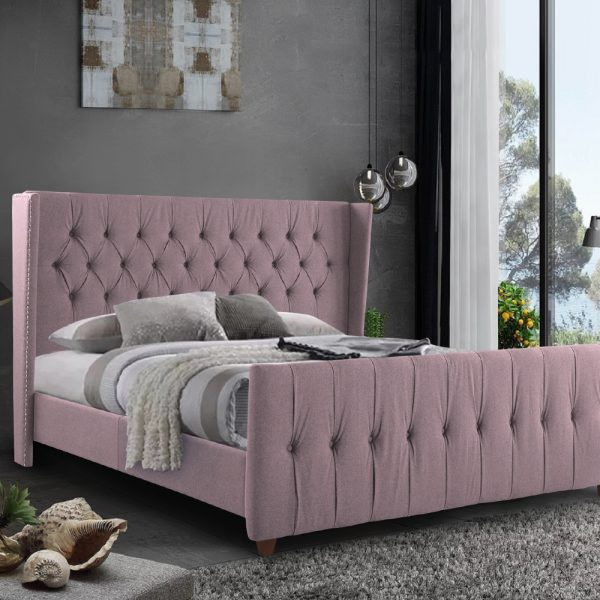 Clarita Bed Single Plush Velvet Pink - Single