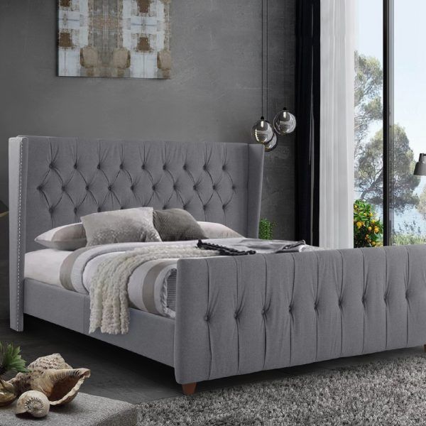 Clarita Bed Single Plush Velvet Grey - Single