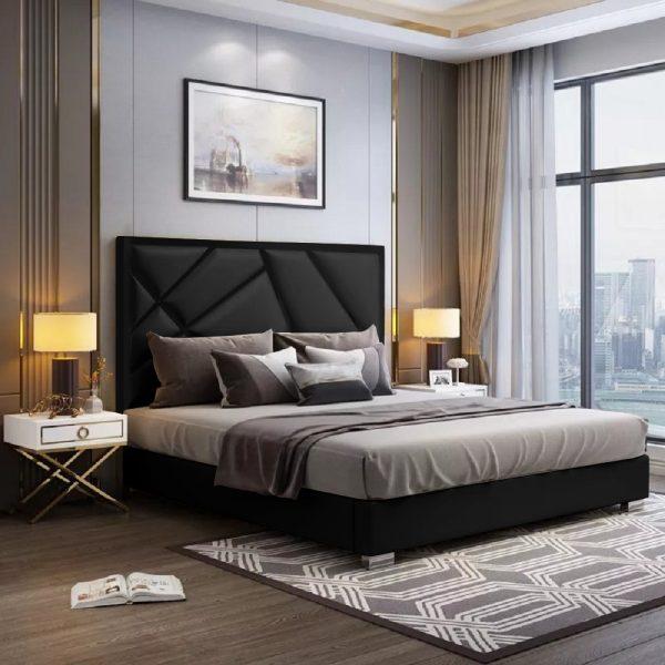 Crina Bed King Plush Velvet Black - King Size