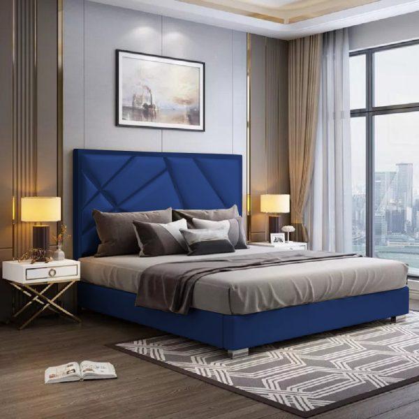 Crina Bed Single Plush Velvet Blue - Single