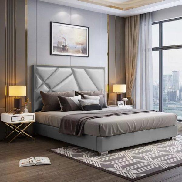 Crina Bed King Plush Velvet Grey - King Size