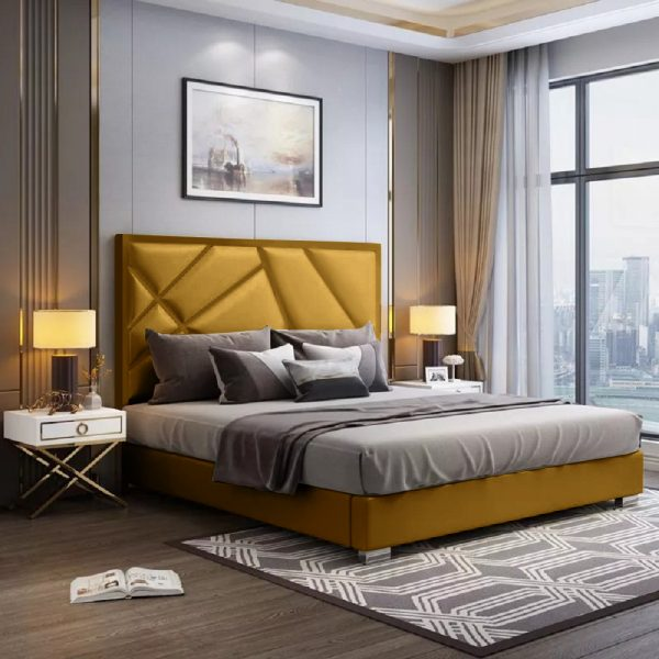 Crina Bed King Plush Velvet Mustard - King Size