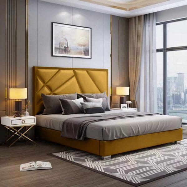 Crina Bed Single Plush Velvet Mustard - Single