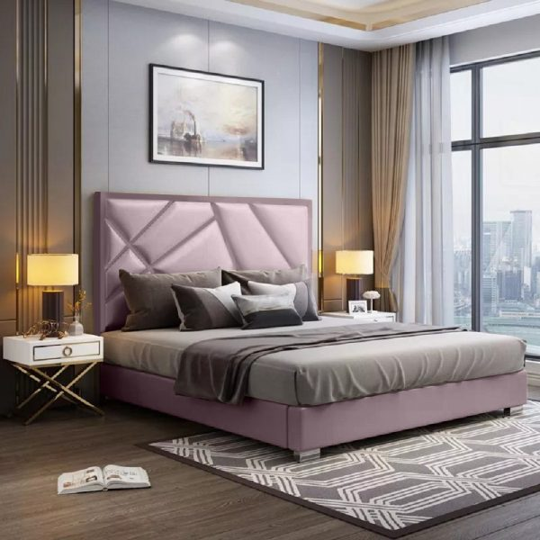 Crina Bed Double Plush Velvet Pink - Double