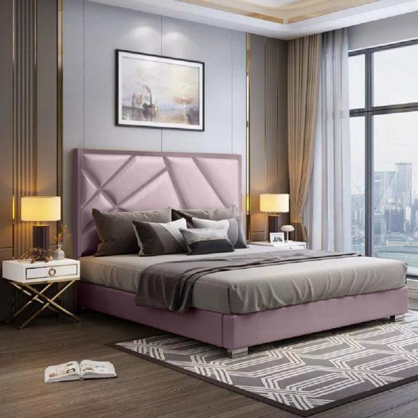 Crina Bed Single Plush Velvet Pink - Single