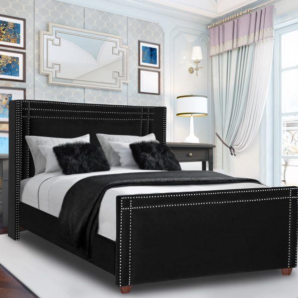 Cubica Bed Single Plush Velvet Black - Single