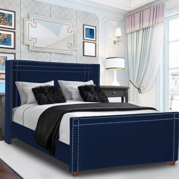 Cubica Bed Super King Plush Velvet Blue - Super King