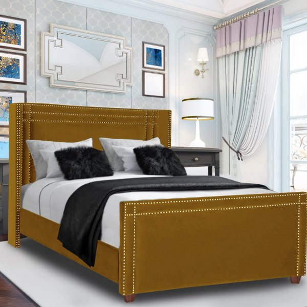 Cubica Bed Double Plush Velvet Mustard - Double