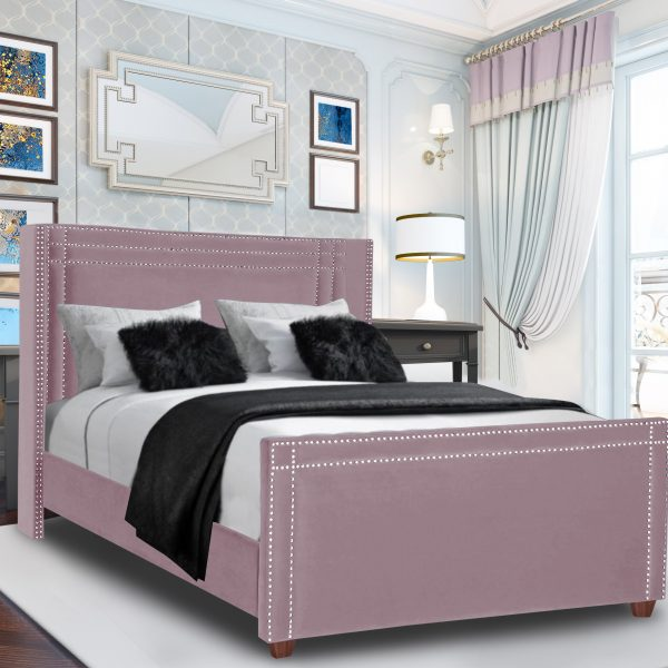 Cubica Bed Small Double Plush Velvet Pink - Small Double