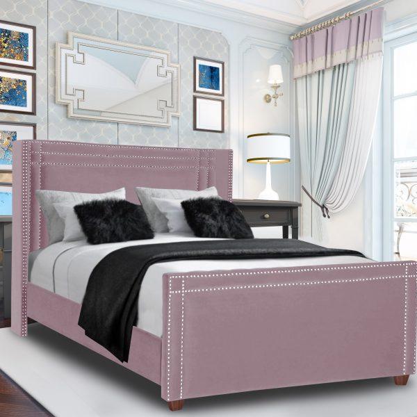 Cubica Bed Single Plush Velvet Pink - Single