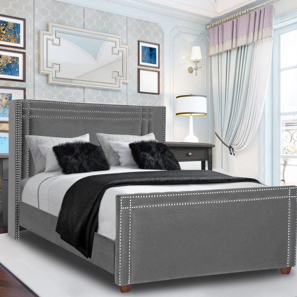 Cubica Bed King Plush Velvet Grey - King Size
