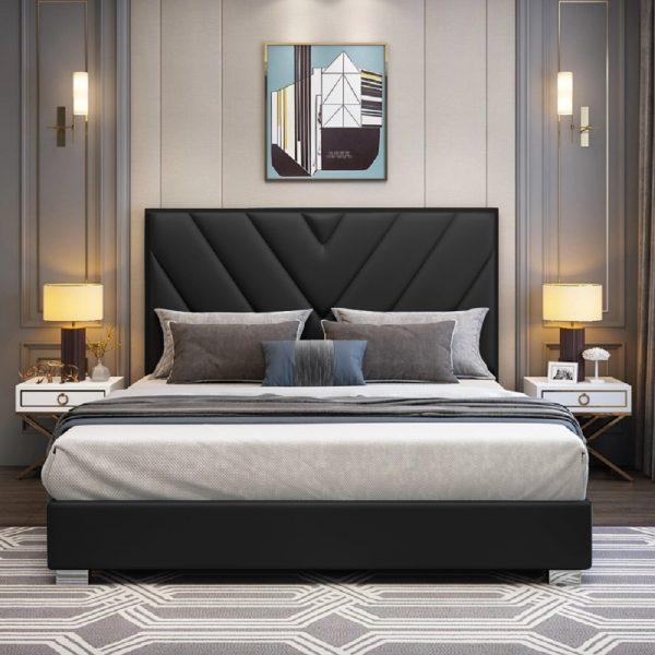 Deana Bed King Plush Velvet Black - King Size