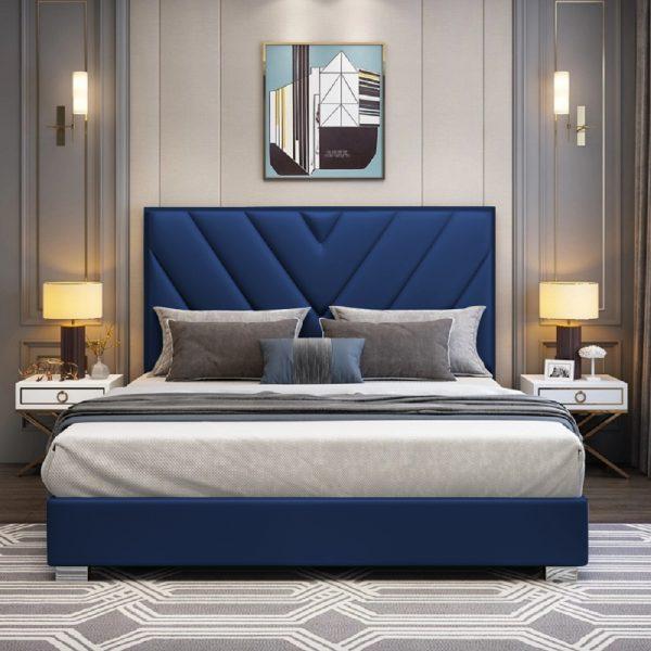 Deana Bed Double Plush Velvet Blue - Double