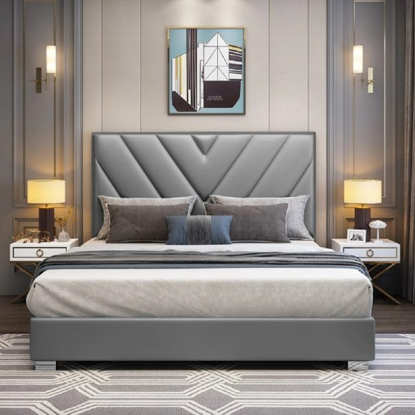 Deana Bed Small Double Plush Velvet Grey - Small Double
