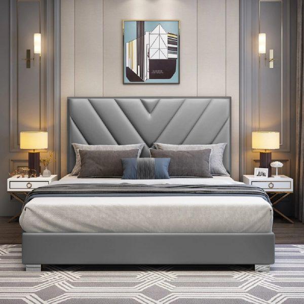 Deana Bed Super King Plush Velvet Grey - Super King