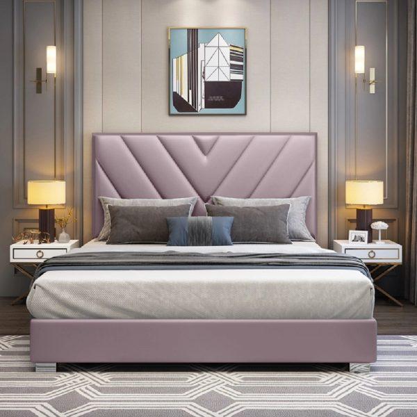 Deana Bed King Plush Velvet Pink - King Size