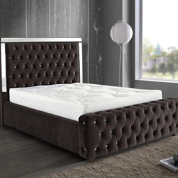 Elegance Mirrored Bed King Plush Velvet Brown - King Size