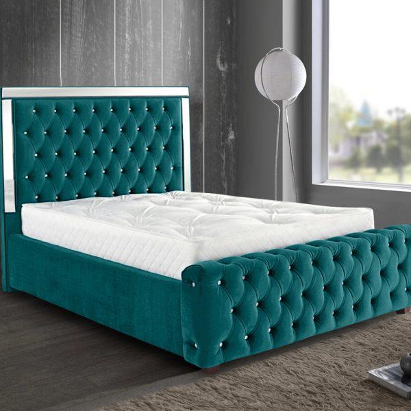 Elegance Mirrored Bed Double Plush Velvet Green - Double