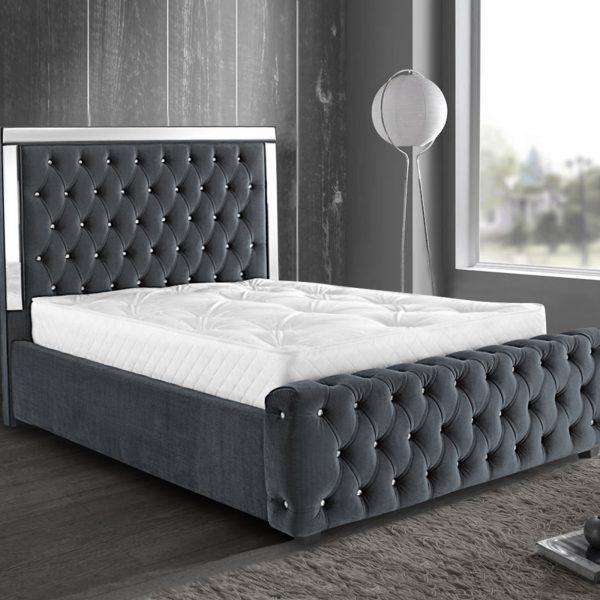Elegance Mirrored Bed King Plush Velvet Grey - King Size